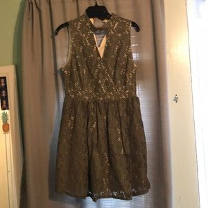 olive and nude lace dress